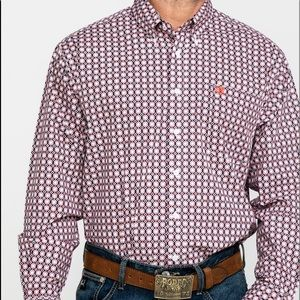 CINCH MEN GEO PRINT BUTTON LONG SLEEVE
